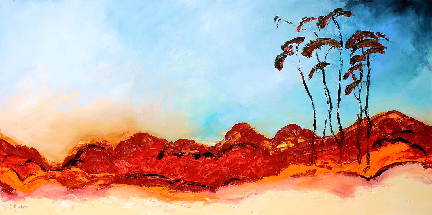 """This powerful acrylic painting was inspired by a trip around and over the north and central areas of Australia.......the landscapes and skyscapes are all just stunning....It is quite large and would suit a larger display wall to really capture the eye...  Title """"  Big Fella My Country """", 91 cm x 183 cm, Acrylic on Linen, Ready to hang,  $2660 Aud"""