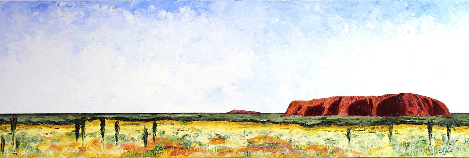 """This beautiful painting from the red centre of Central Australia was inspired by a trip in 2011. An iconic place to visit with astounding horizons and skyscapes.Get out there and have a look.  Title """" Red Heart """" ( uluru, Central Australia ), 61 cm x 183 cm, Oil on linen, ref 0608,  $2040 AUD .  Available to purchase on line at  Bluethumb  Gallery with free shipping and insurance and 7 day returns"""