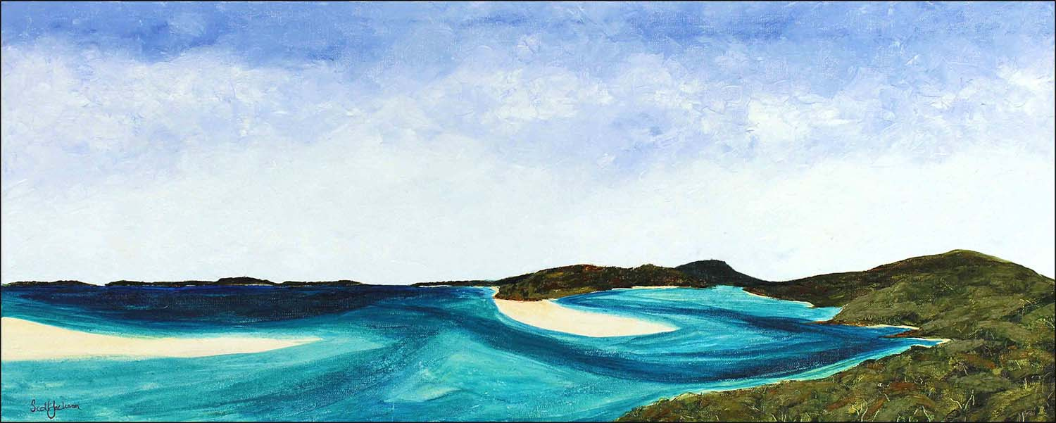 """This is a place you must visit !!! Whitehaven Beach on Whitsunday Island .A phenomenal spot in The Cumberland Islands group off the coast of North Queensland.  Turquoise water and white silica sand that just has to be seen to be believed.... an unspoiled wonderland that was a pleasure to see and paint.  Title """"Whitehaven"""", 61 cm x 153 cm, Oil on linen, ready to hang,  $1730 AUD.   Can be purchased via  Bluethumb  online gallery with free shipping and insurance"""