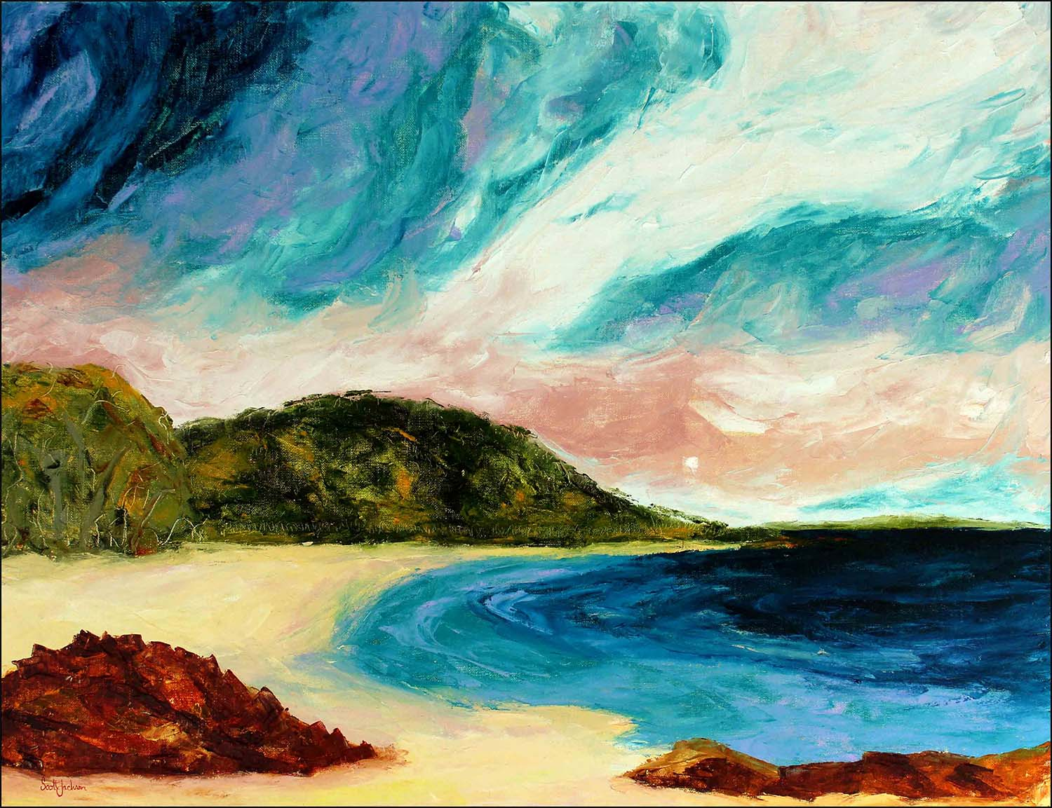 """I was inspired to paint this dramatic skyscape after camping at Jervis Bay on the south coast of NSW. ..watching storms over the ocean is always fascinating and I have spent a lot of time doing it ..great to see !  Title """" Wild Sky Over The Bay """", ref 0617, oil on linen, 91 cm x 122 cm, ready to hang,  $1690 AUD"""