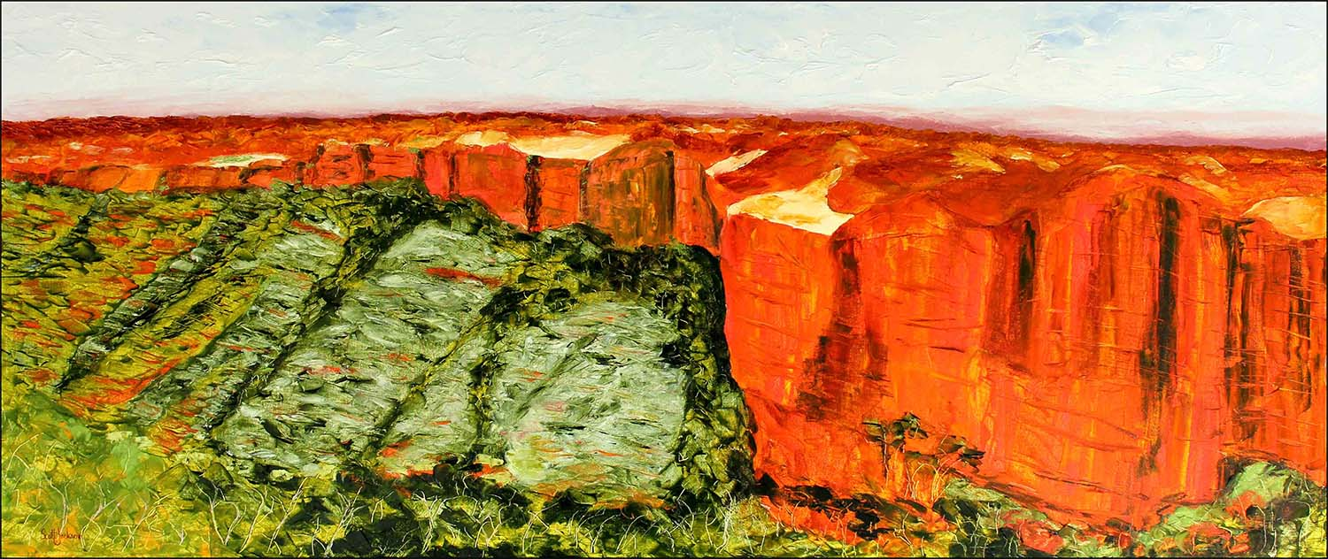 """Another breathtaking vista to immerse yourself in ...The iconic Kings Canyon in Central Australia.This painting shows the view across the canyon to the massive orange cliffs and the trees that populate the rubble strewn floor. I loved ...and I walked it !...it was as hot as !!!  Title """" Kings Canyon """" 71cm x 167 cm, Oil on canvas, ready to hang,  $1890 AUD"""