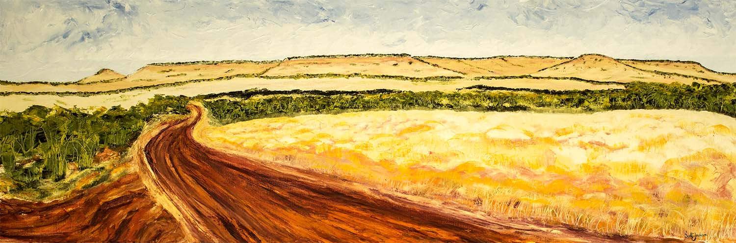 """Travelling through the Eastern Kimberley in Northern Australia is a """"must do"""" if you like being on the road. ...rugged beauty everywhere...try the drive Katherine, NR to Broome in WA ..fantastic  Title"""" Red Road Country  """" ref 0607, 61cm x 183 cm, Oil on linen, ready to hang,  $1790 AUD"""