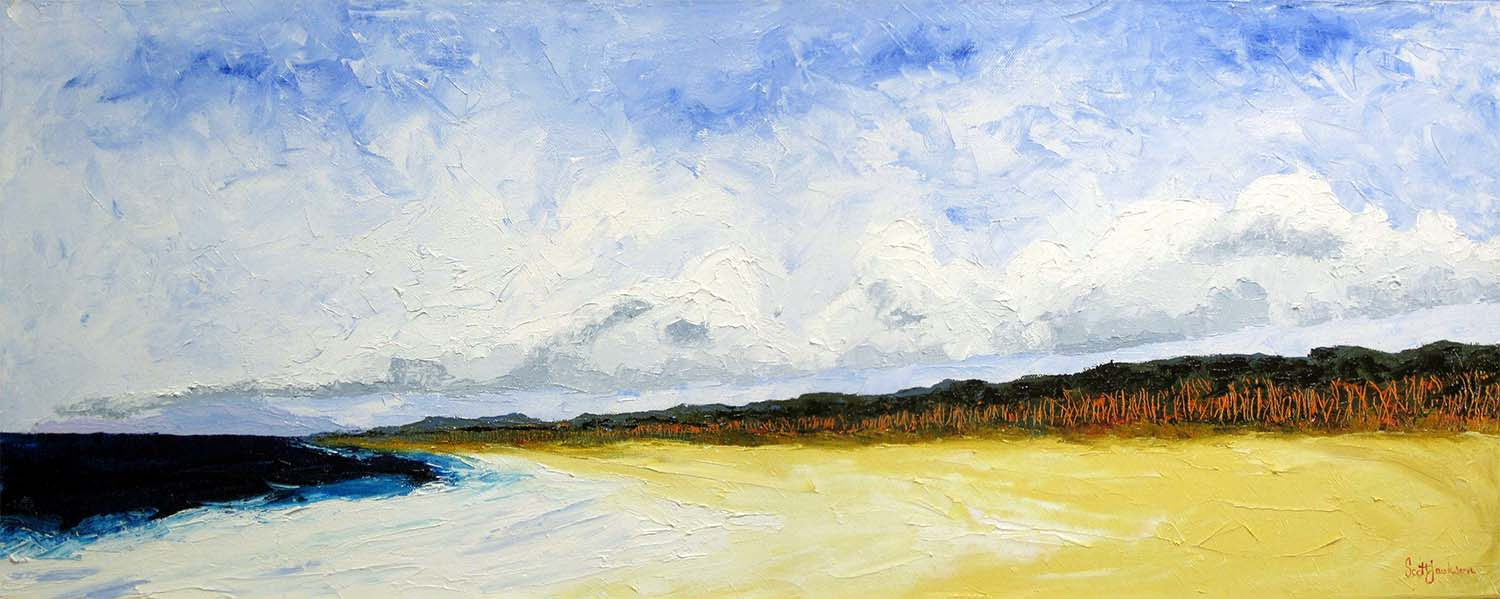 """Spending a lot of time on the beach at all hours of the day you can see some amazing and beautiful sights...one of these is the cloud line that hug the coast ........ This is what inspired this work....  Title Beach Horizons"""" ref 0591, 46 cm x 122 cm, oil on linen, ready to hang,  sold april 2019"""