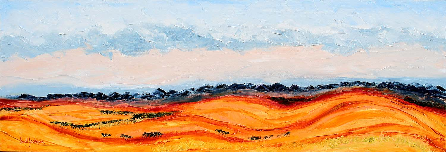"""The Flinders Ranges is a stunning landscape to see...I spent a bit of time here camping...it had all extremes...hot one minute storms and flash floods the next ...  Title """"Flinders Horizon"""",30 cm x 91 cm, Ref 0652, oil on canvas, ready to hang,  $450 AUD    To Purchase this painting please see my ebay listing"""