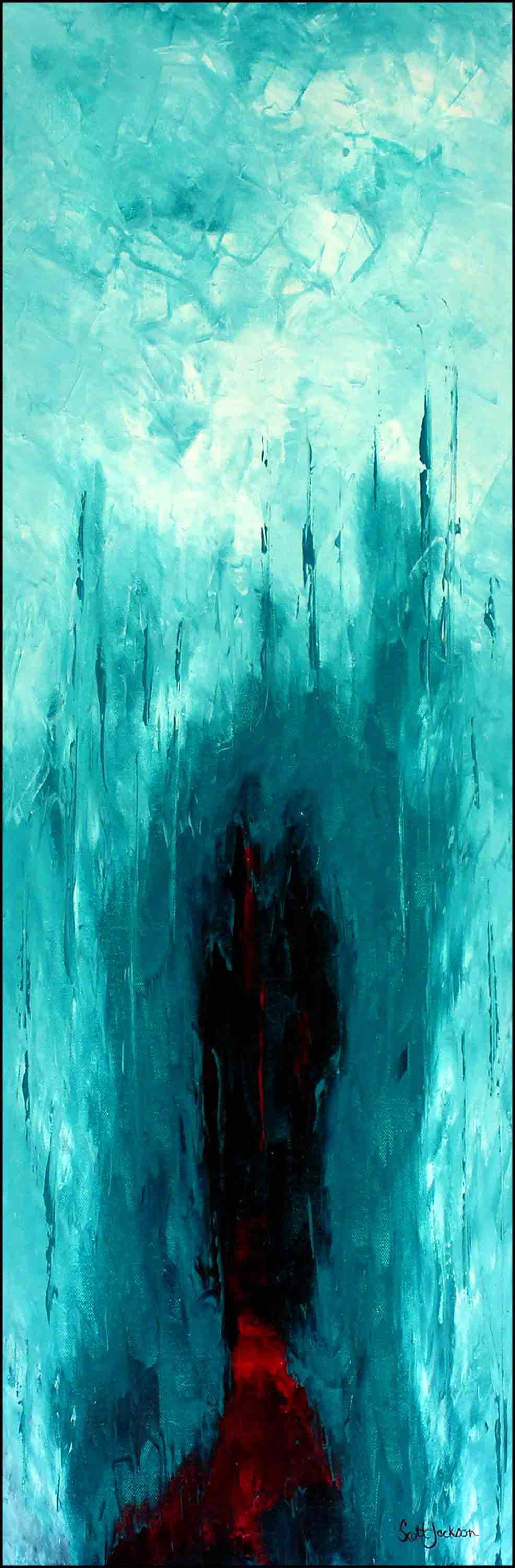 """This is a symbolic work dealing with the hidden depth of feeling evoked in people by dreams, forest and the spiritual world... for the viewer ..it is a case of interpret it as you will...  Title """" Red Spirit Door in The Forest of Dreams """", oil on canvas, 91 cm x 30 cm, ready to hang, ref 0636,  $450 AUD"""