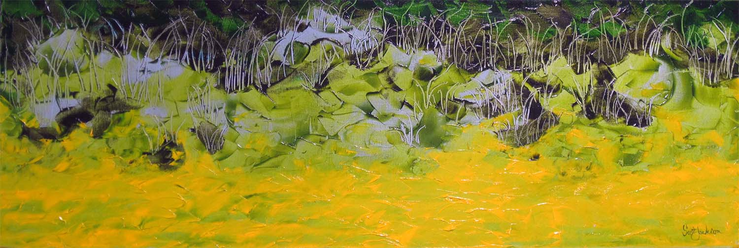 """The painting was created after a trip in the Yellow Water area of Kakadu, a beautiful place ....but keep an eye out for the crocs ...  Title """" Green Water Spirits """", ref 0599, 31 cm x 91 cm , oil on canvas, ready to hang, sold november 2017"""