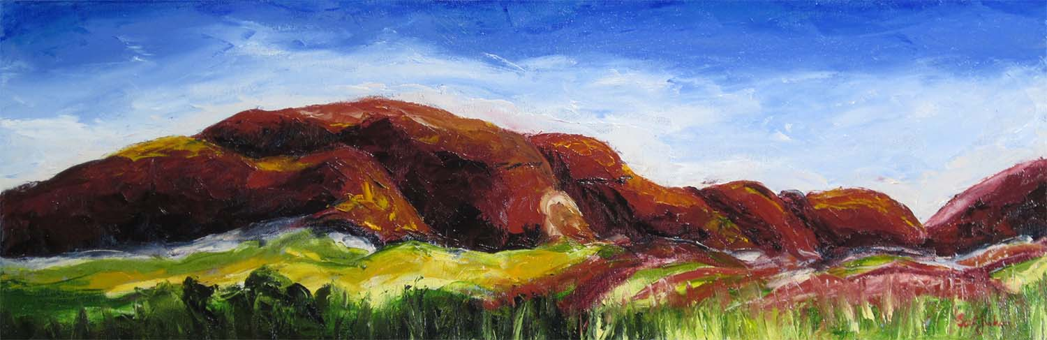 """The Red Country of central Australia is a painters dream....Kata Tjuta a natural and spiritual wonder....you have to get out there !  Title """"  Red Country """", 31 cm x 91 cm, oil on canvas, ready to hang,  $450  AUD"""