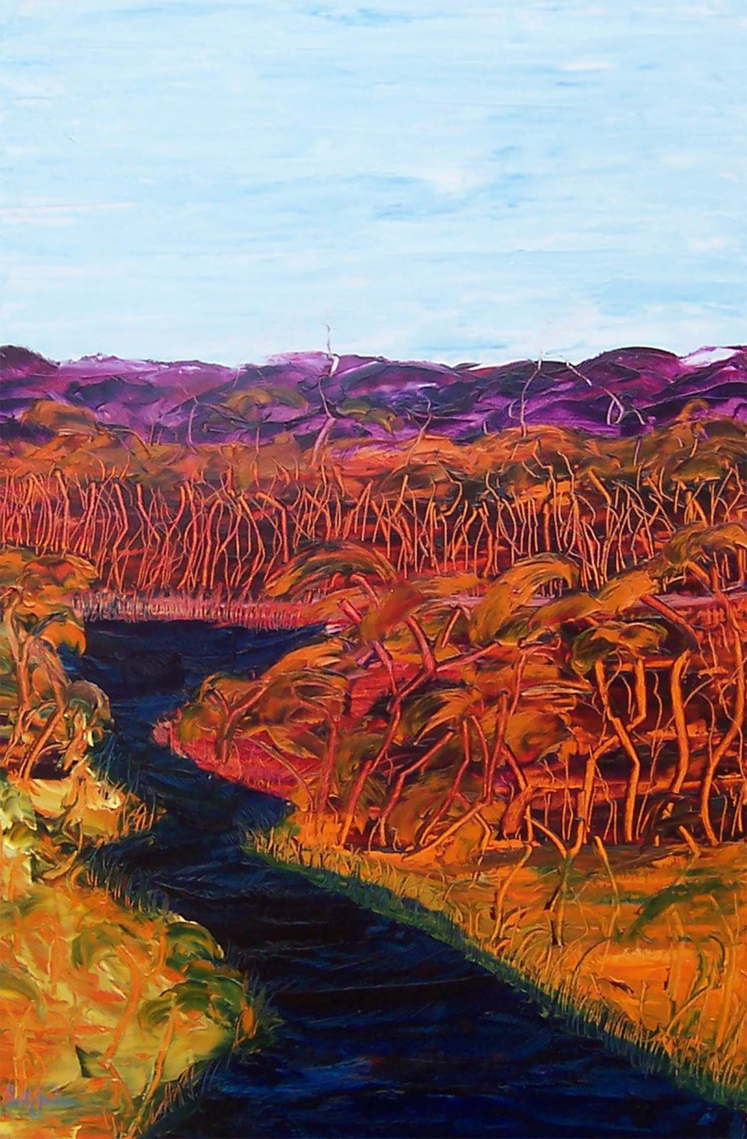"""This rich and textured work represents the striking landscapes of Australia's outback rivers and bush landscape... always rich and visually dynamic.  Title """" River and Bush """", 90 cm x 60 cm, ref 0371, oil on board, ready to hang,  $860 AUD"""