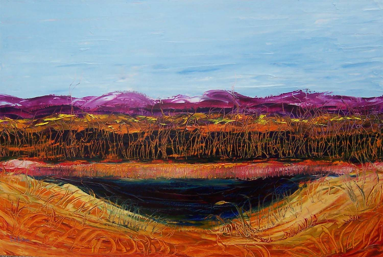 """Title """" Billabong and Trees """" ref 0370, 60 cm x 90 cm, oil on board, , ready to hang,  $790 AUD"""