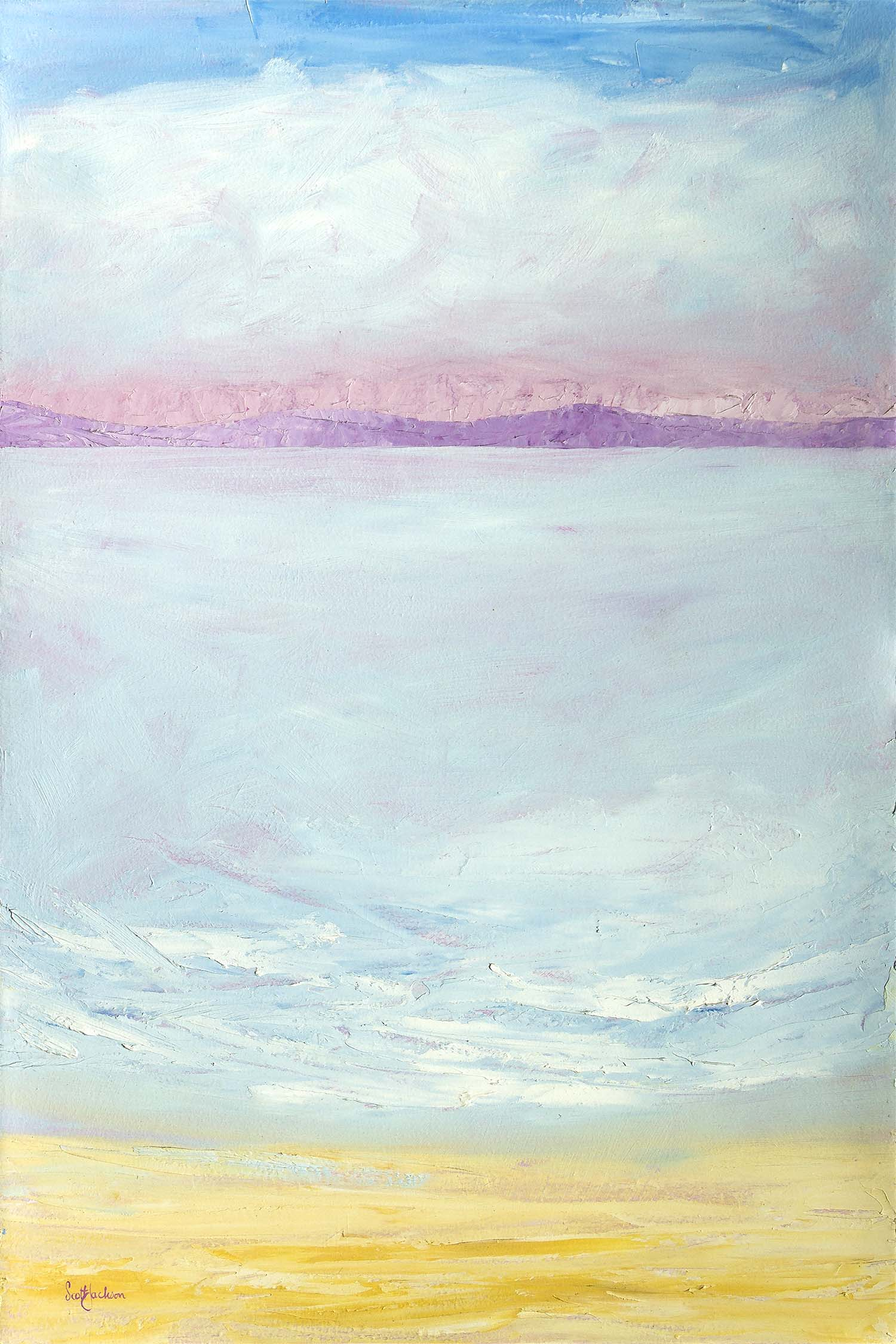 """This painting was done as part of a theme..... light colours and easy to look at ...representing the changing light and atmosphere of various lake areas I have visited....  Title """" Earths Light- A lovers Touch"""" , oil on board, ref 0332, 90 cm x 60 cm,  $790 AUD"""