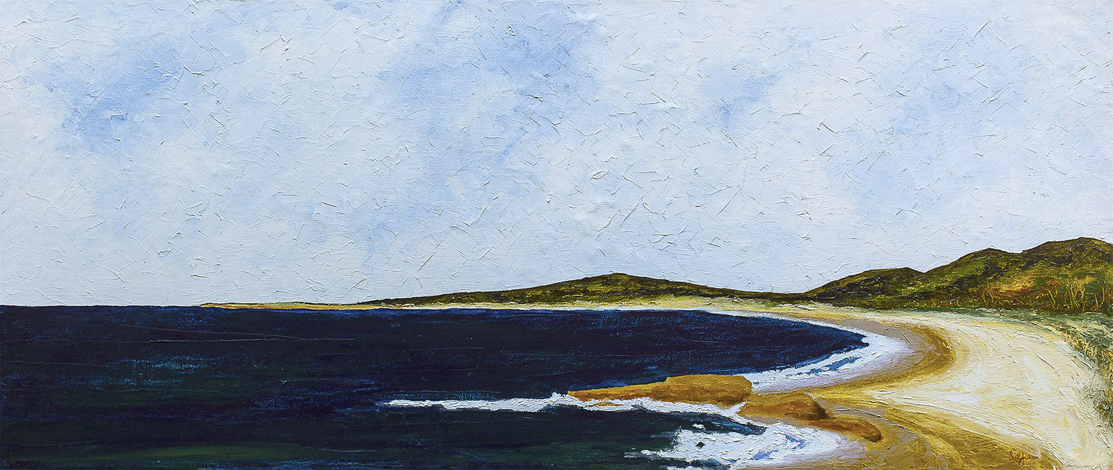 The stunning coastal area of South West rocks has Trial Bay. ...a beautiful beach ....This painting shows the well known Boulders at the town end of the beach and in the distance is the headland that has a camping ground and the historic Gaol......a great place for a dip ...you know yu want to just dive right in !!  Available to buy at my  Bluethumb online gallery  for $1800