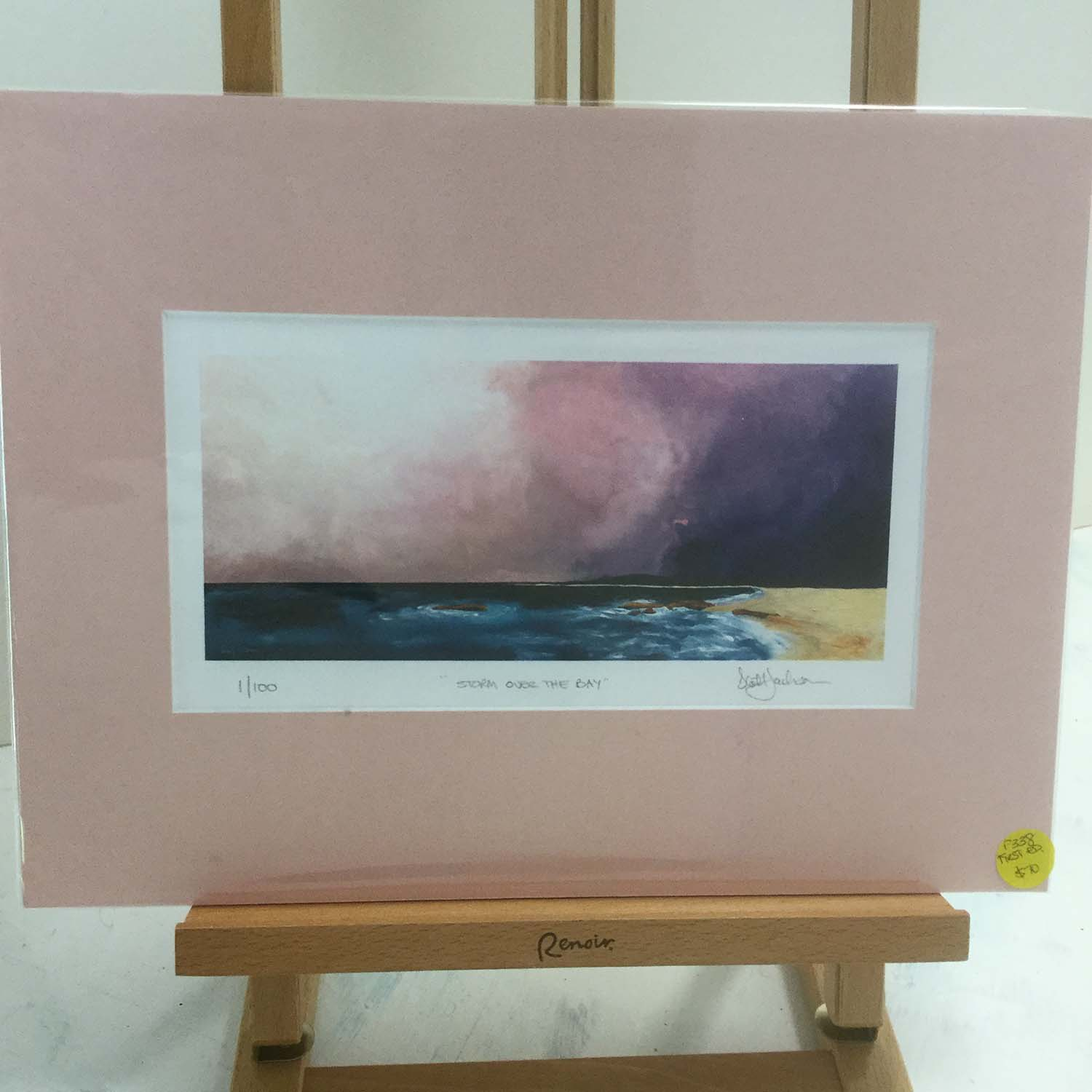 Storm Over The Bay, Trial bay , SWR, $70, First Edition , signed, 1/100, A4 size image, Pink Mat.