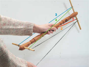 Then, bring the yarn back down and around the bottom arm that is next to your body (4).  Repeat this sequence until you run out of yarn.  After a few skeins, the winding motion will become second-nature.