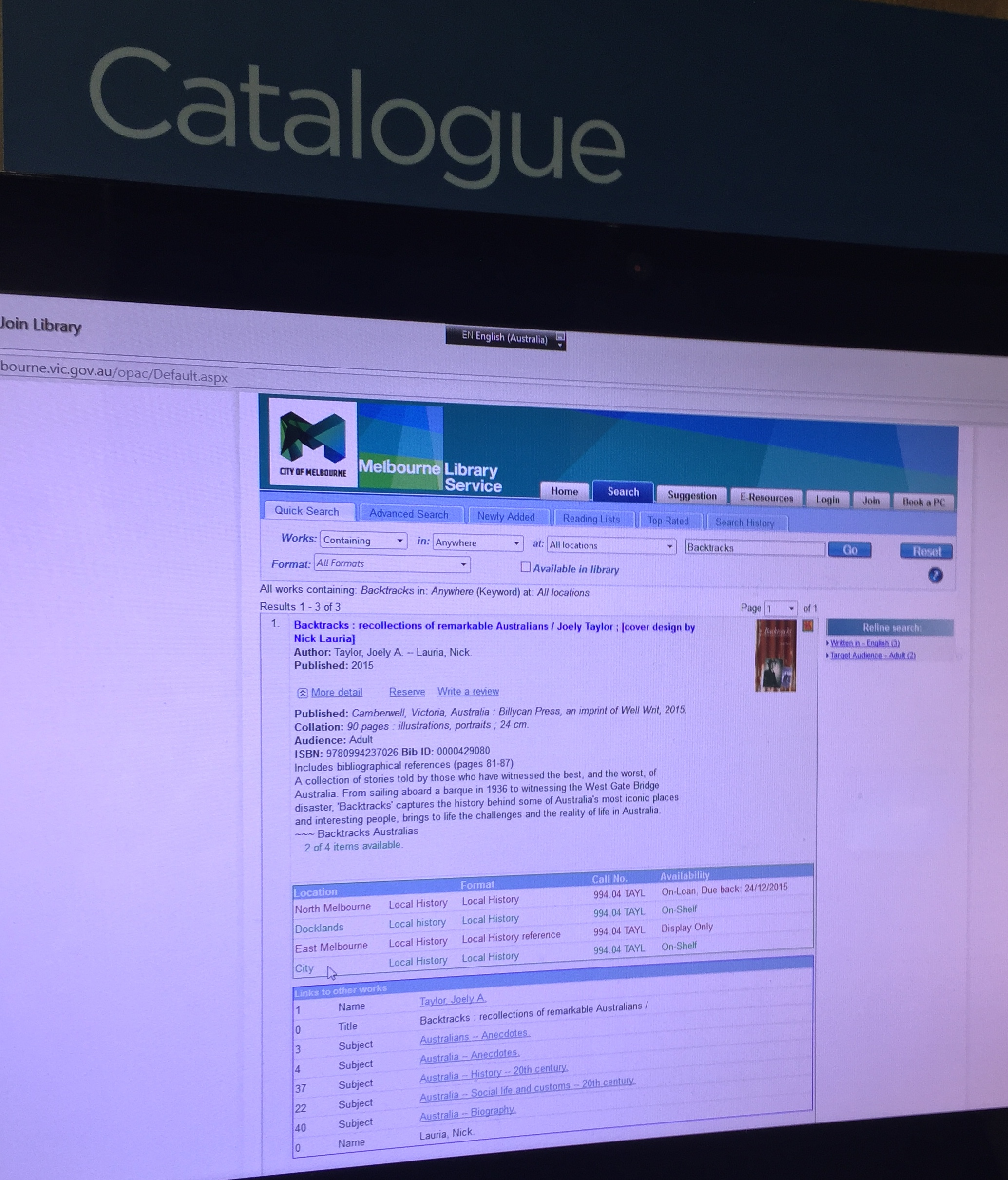 Backtracks  in the Melbourne Library Service catalogue