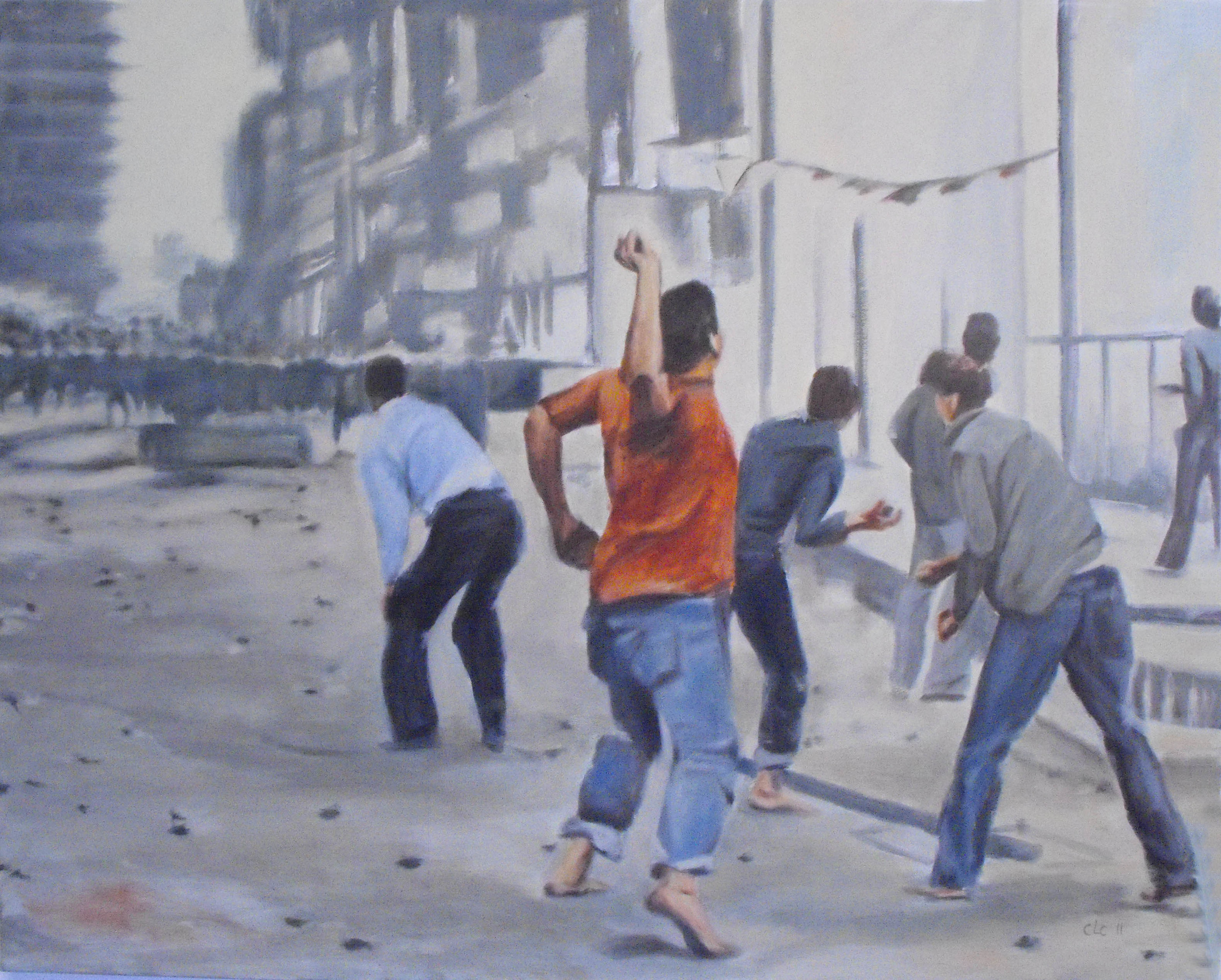 """""""Rockthrowers II"""", Oil on canvas, 75x60, 2011"""