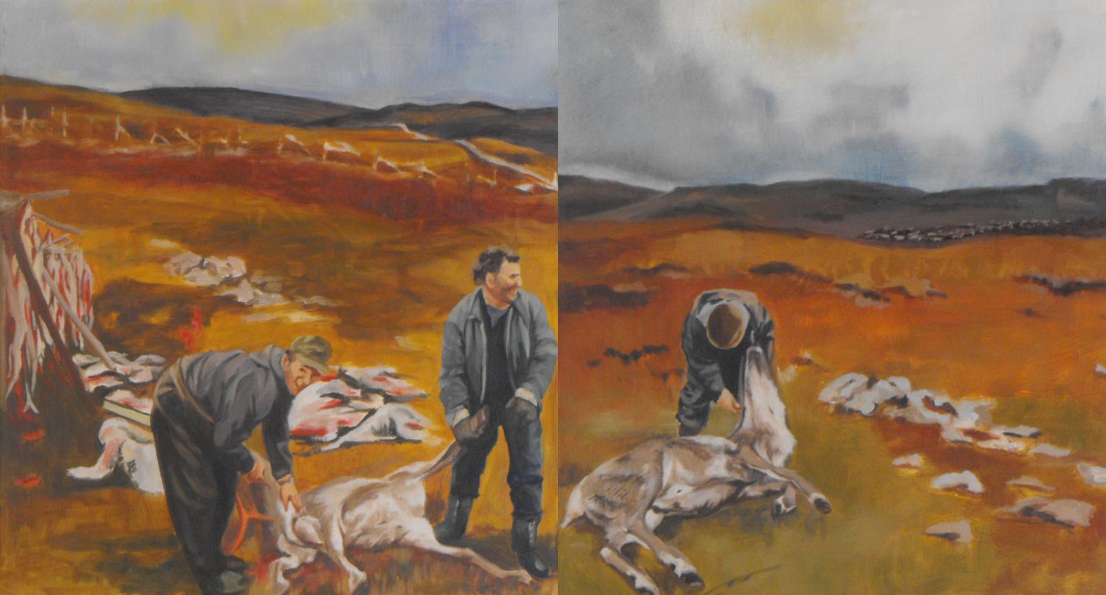 """""""Slakt I og II"""" Oil on canvas, 47x50 each, 2014"""