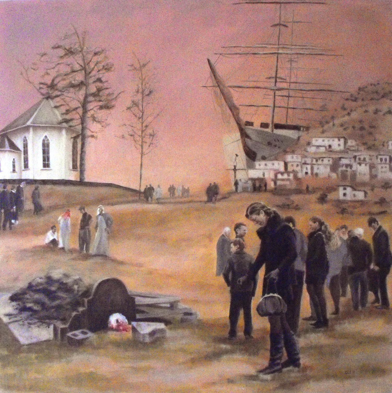 """Procession IV. En bondebegravelse"", Oil on canvas, 100x100, 2010"