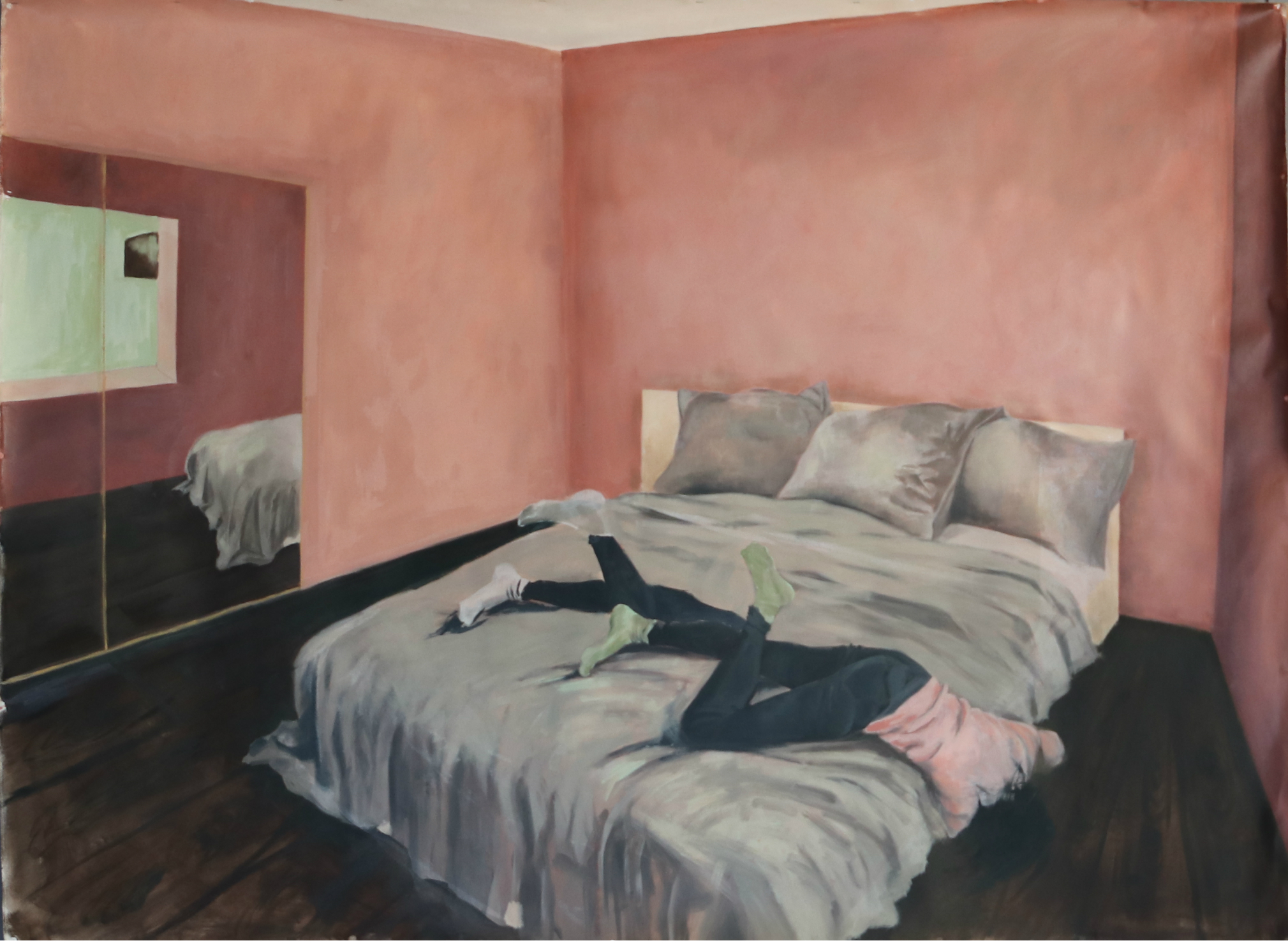 2(3) rom og kjøkken. Daydream  Oil on canvas, 160 x 215 cm, 2019