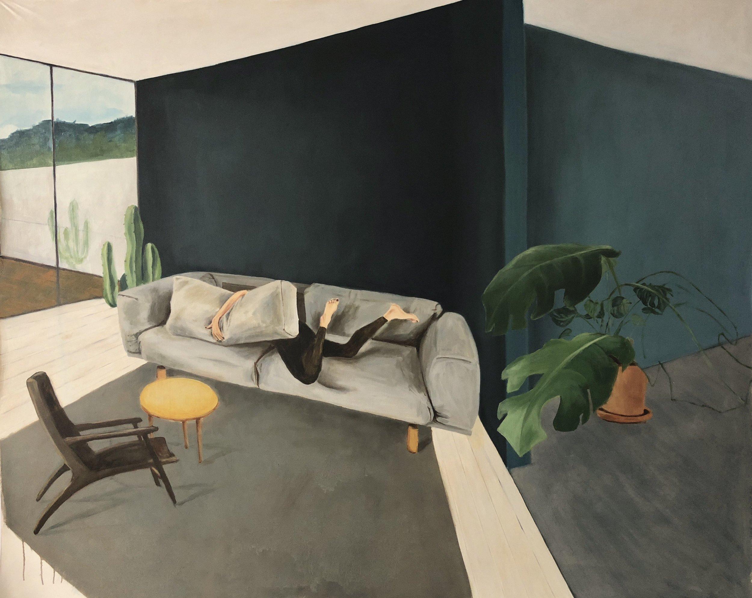 2(3) rom og kjøkken. Geneve  Oil on canvas, 160 x 200 cm, 2018