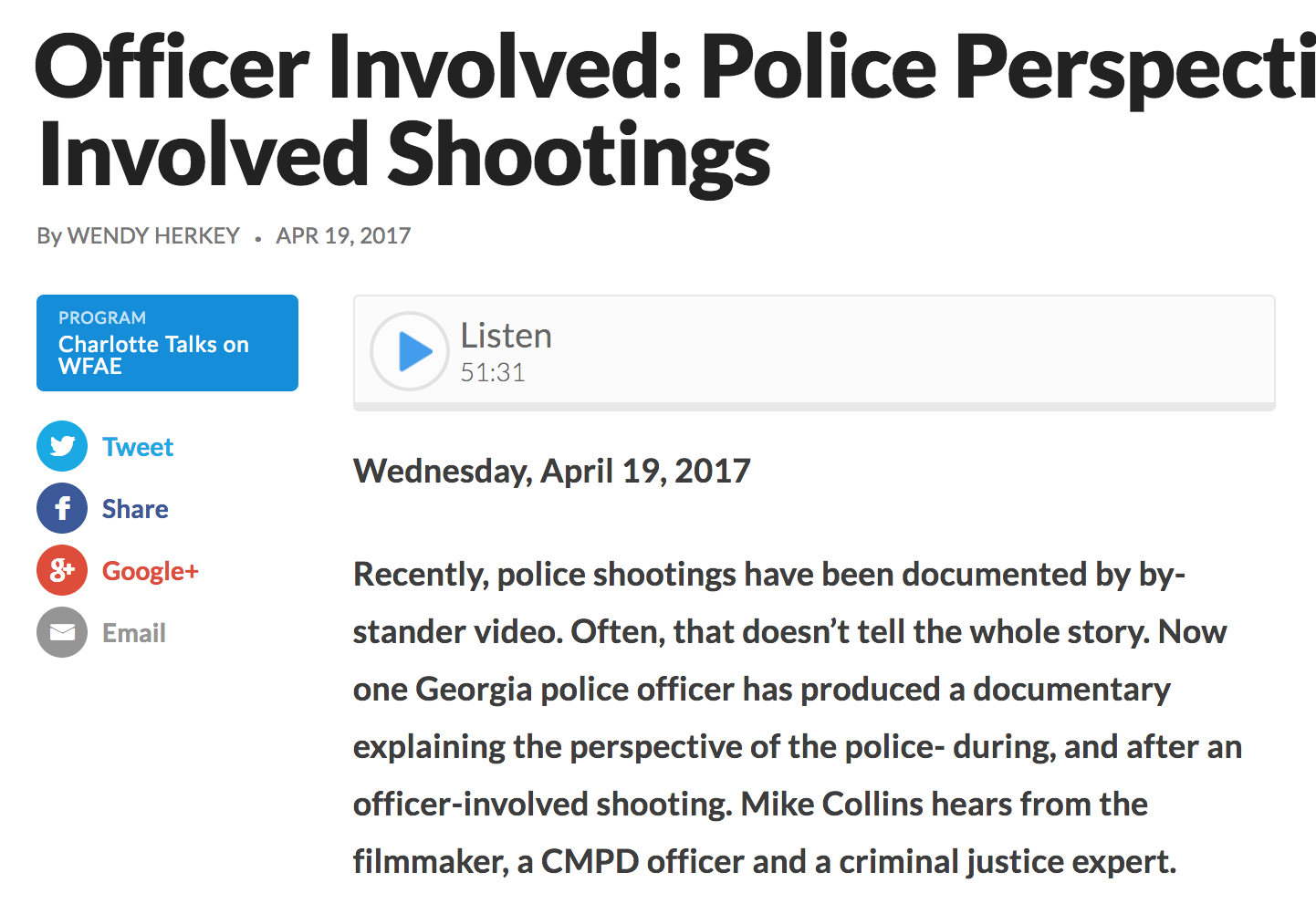 Officer Involved: Police Perspectives on Officer Involved Shootings   WFAE 90.7