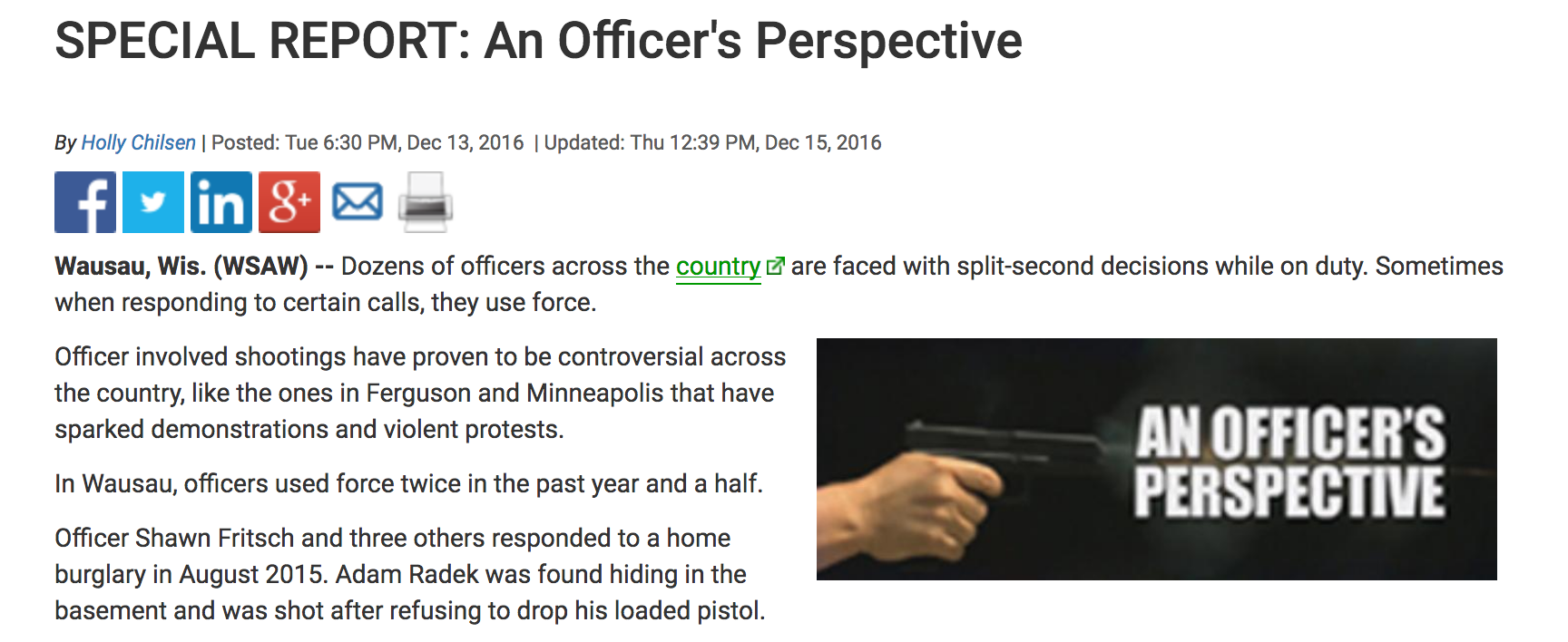 Special Report: An Officer's Perspective   WSAW -TV