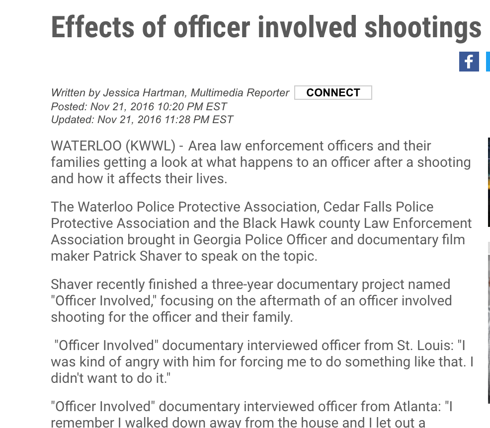 Effects of officer involved shootings   KWWL