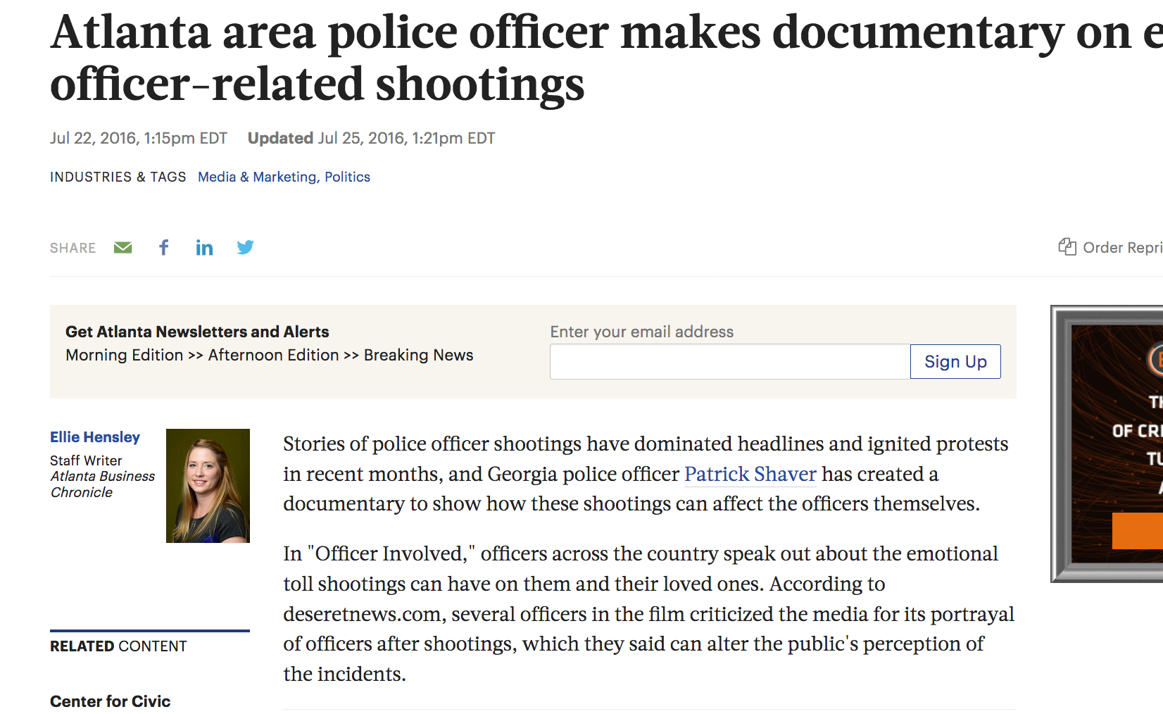 Atlanta area officer makes documentary on effects of officer-related shootings.   Atlanta Business Chronicle