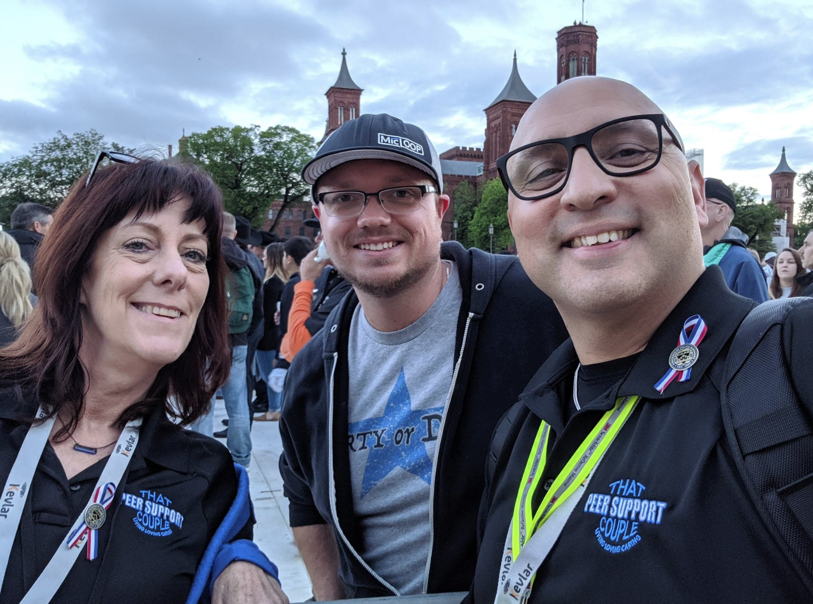 Running into old friends at Police Week in 2019. Javier and Cathy are That Peer Support Couple.