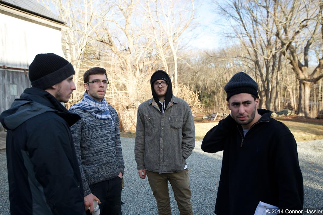 (From Left to Right: Ronnee Swenton (Producer/Director of Photography); Lorenz Gmek (Gaffer); Josh Hogan (Key Grip); Joe Pellegrino (Assistant Camera)