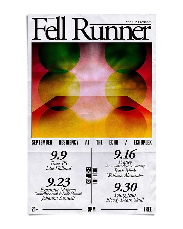 @fellrunnermusic residency at @theechola starts Sept 9th and continues every following Monday in September! Some of our favorite artists will be playing sets each night. It's free. All good things. I'd love to see you. #fellrunnerechoresidency
