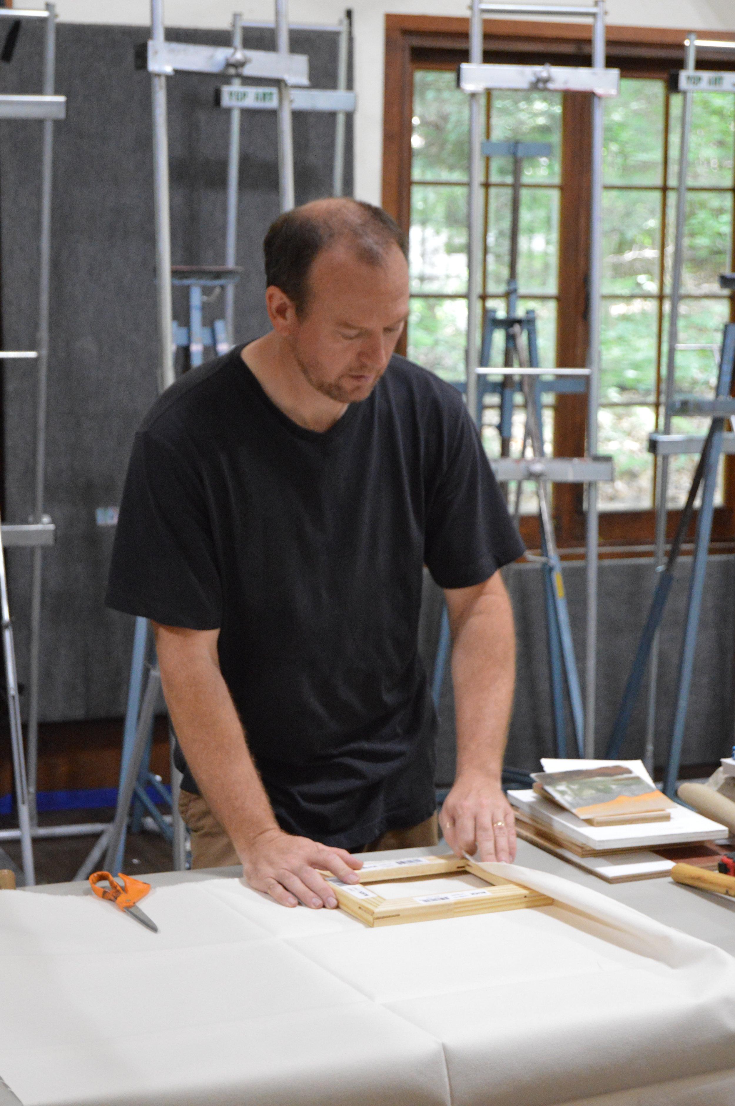 Michael Allen workshop on stretching canvas.JPG