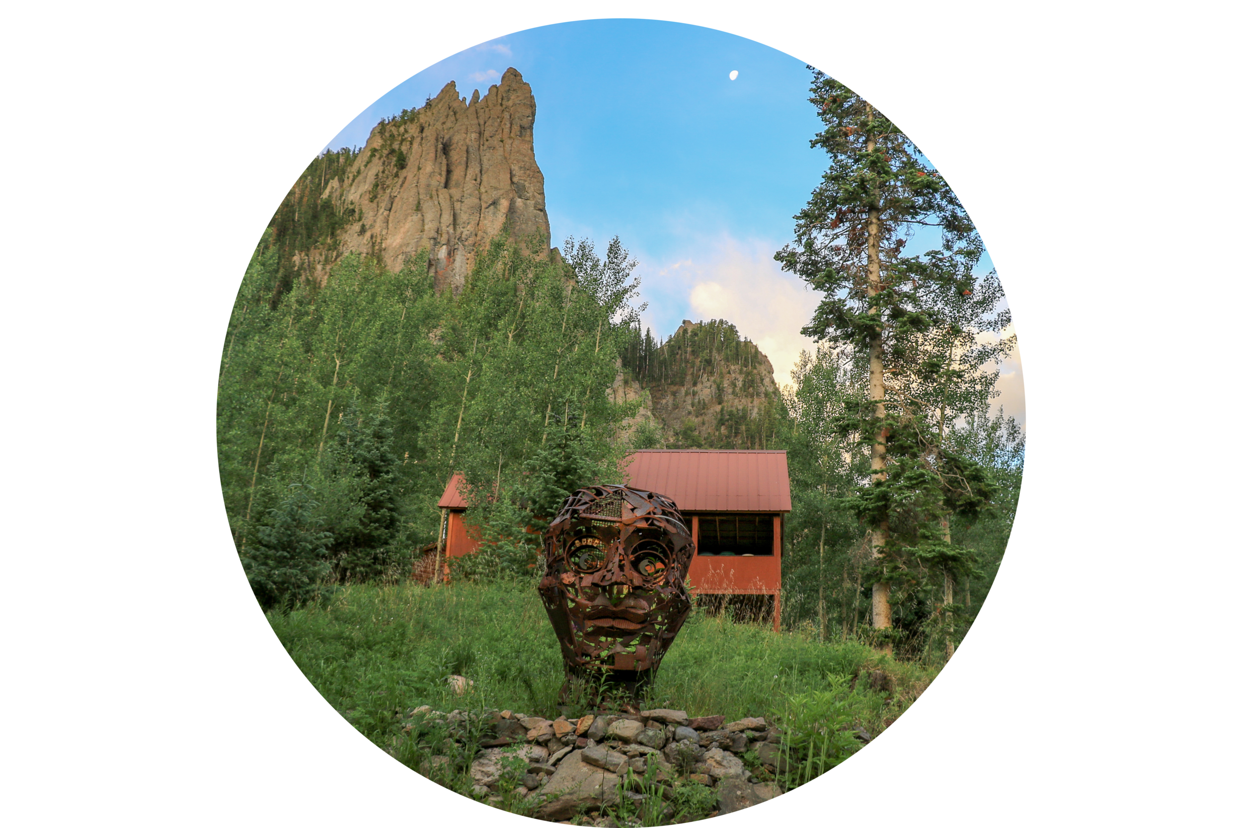 A Portrait of Hugo  is, as the name suggests, a portrait of another sculpture,  Hugo , pictured above. Hugo was acquired by a private collector in 2016 for his summer home in Ouray, Colorado. Hugo stands at 7' tall on a stone plinth surrounded by Squaw Peak, aspens & pines. In 2018, after visiting Hugo, I was inspired to sculpt a commissioned portrait of him in his alpine setting in metal for my patron's winter home in Arizona!