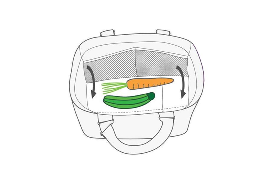 Fold over optional shelf to protect bottom goods.