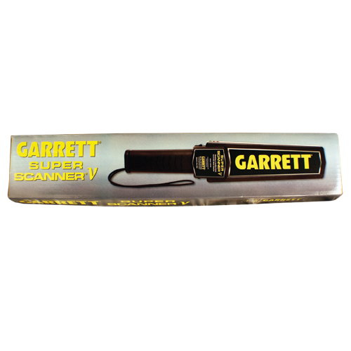 """Garrett's SUPERSCANNER® V is the most recognized hand-held metal detector in the world. The industry leader for more than 25 years, the SuperScanner® V is backed by ongoing state-of-the-art Garrett engineering. Ultimate sensitivity: detects medium sized pistol from 9"""" distance; large knife from 6""""; razor blades and box cutters from 3"""" distance; foil-wrapped drugs and tiny jewelry from 1"""". Large 8"""" scan surface for quick, thorough scanning."""