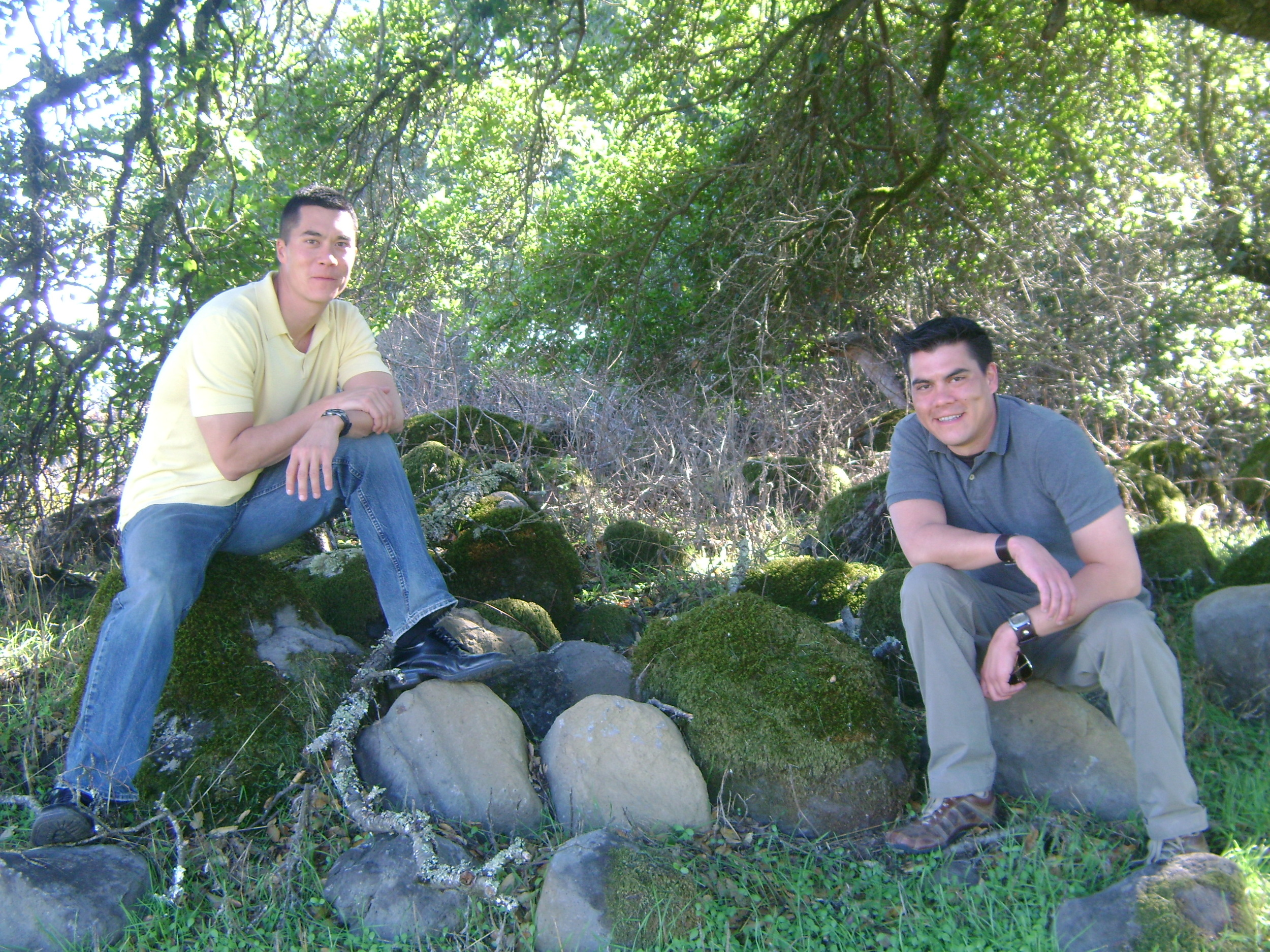 James (left) and Mark Blanchard relaxing at one of our Sonoma County vineyard sources. Photo by Steve Blanchard.