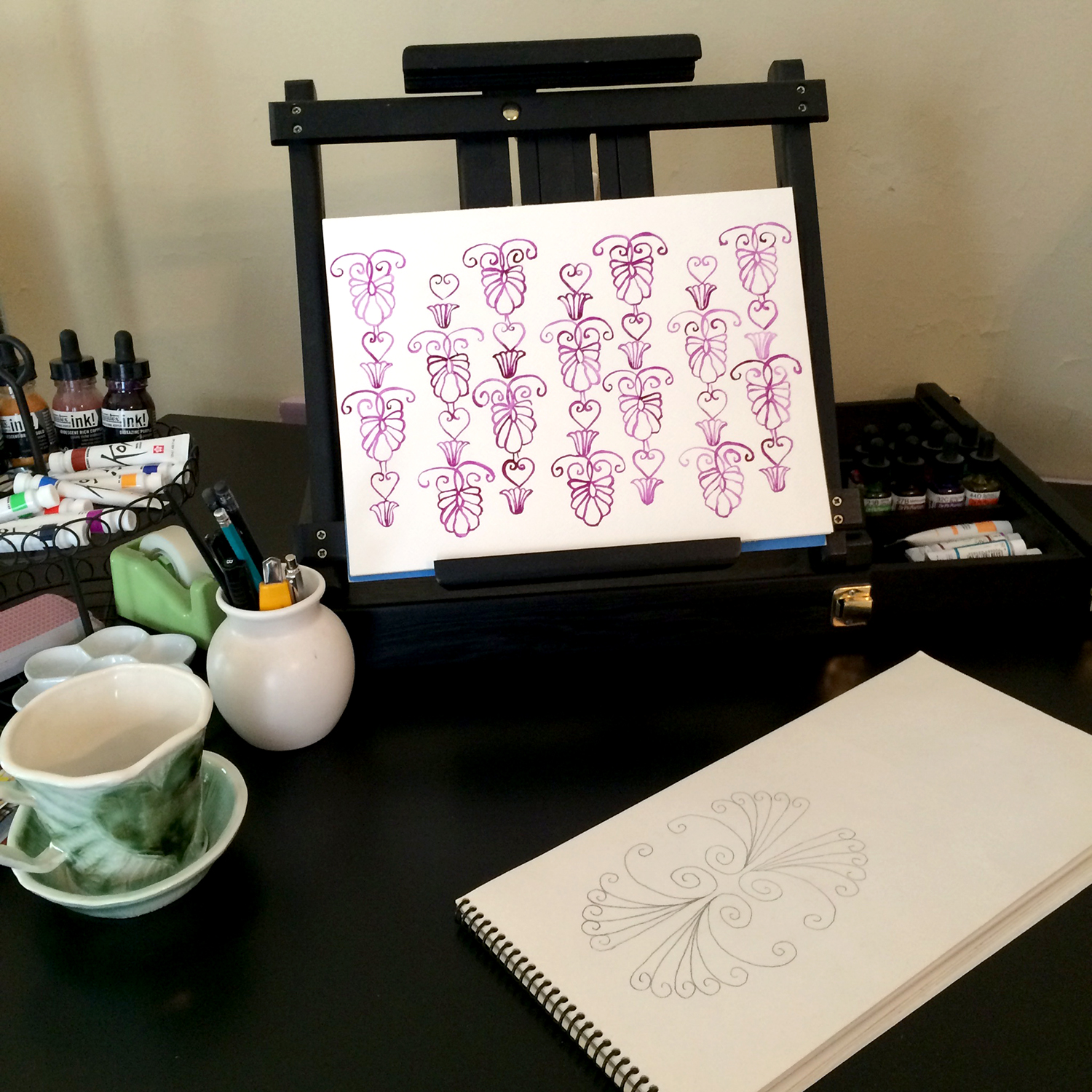 Using watercolor to repeat motifs keeps the element of hand drawing alive