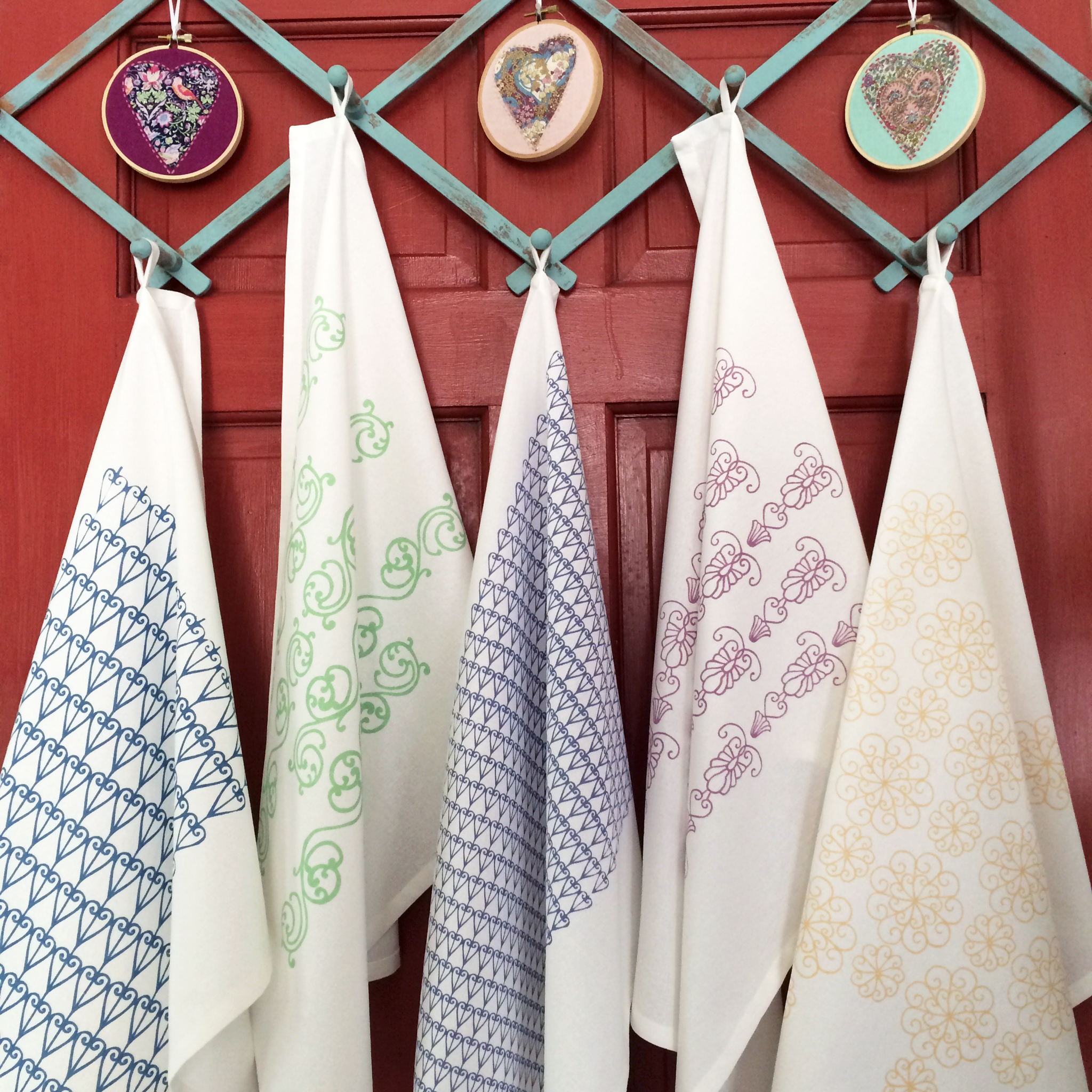 Hand Screen Printed Savannah Ironwork Series Tea Towels by For the Love of Pattern