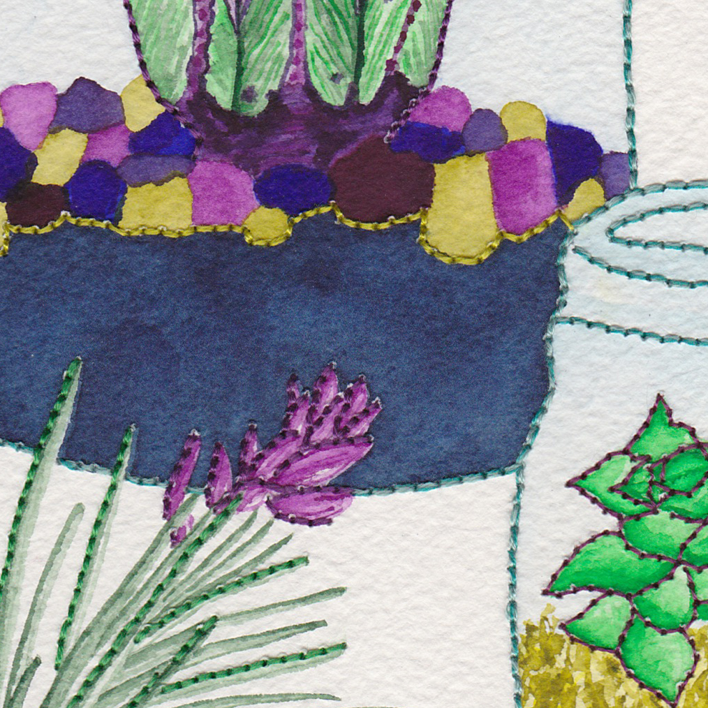 "Detail view of ""Delight in the Little Things"" watercolor & hand embroidery by Abby Leigh Johnson of For the Love of Pattern"