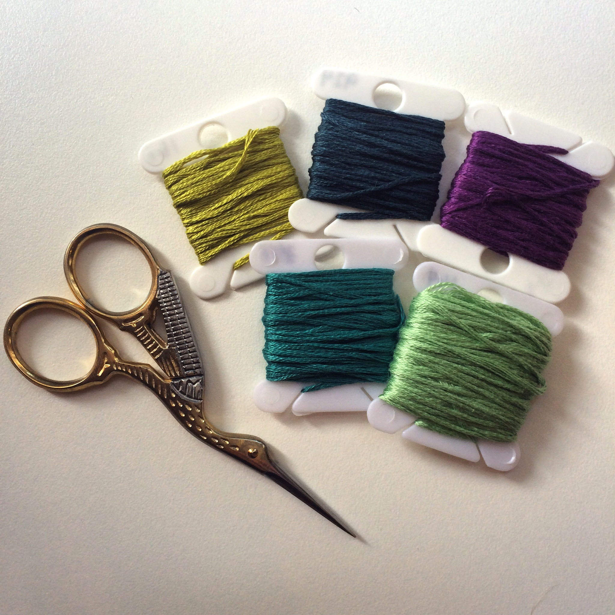 Embroidery floss selection for a project #loveofpattern www.loveofpattern.com