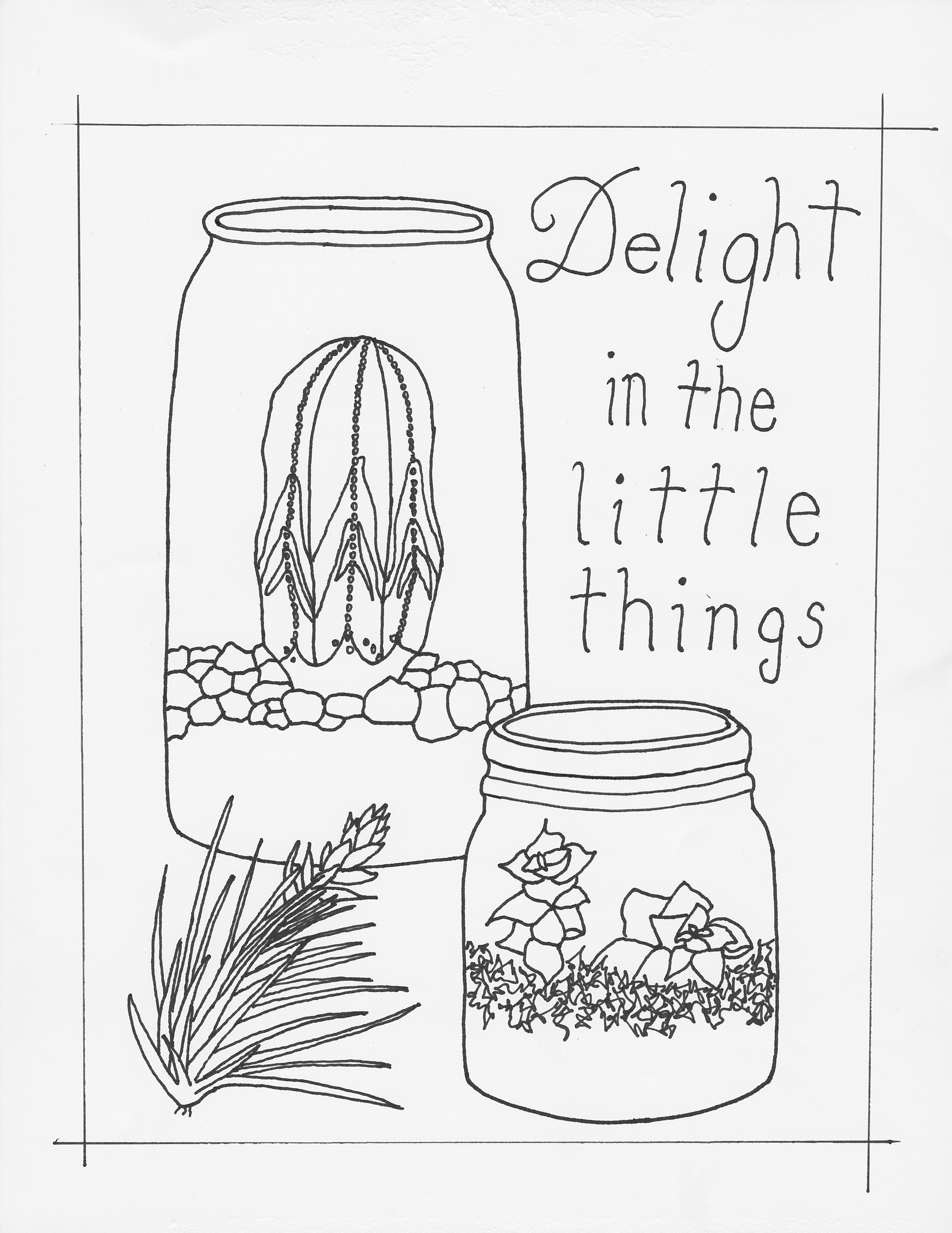Delight in the Little things by Abby Leigh Johnson of For the Love of Pattern - ink drawing - #loveofpattern www.loveofpattern.com