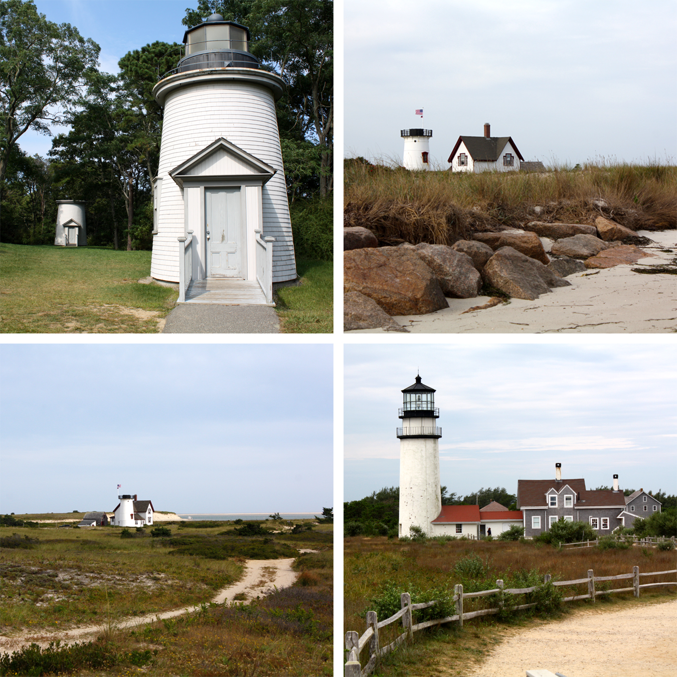 """Three Sisters"", ""Stage Harbor Light from the Beach"", ""Stage Harbor Light from the Road"" & ""Highland Light"" all photos by Abby Leigh Johnson"