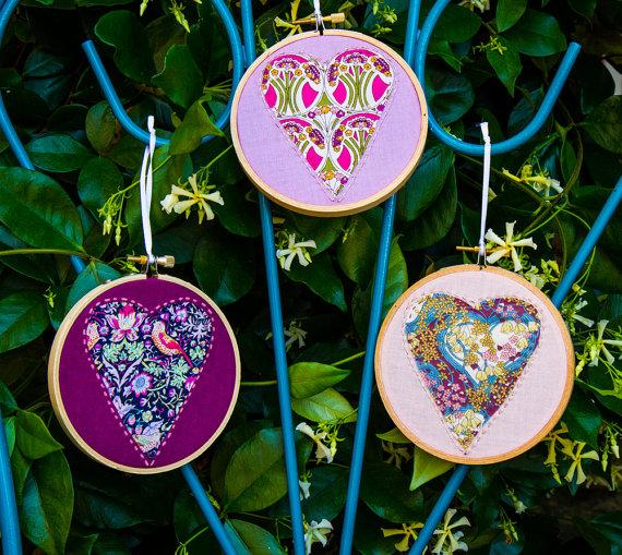 Handmade For the Love of Pattern Heart Ornaments www.loveofpattern.com