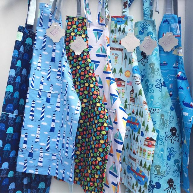 Nautical Themed Children's Aprons #loveofpattern www.loveofpattern.com