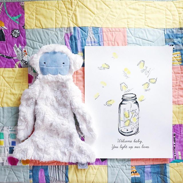 Two of my favorite things in the nursery! @slumberkins Yeti & @bdthandmade baby guest book.
