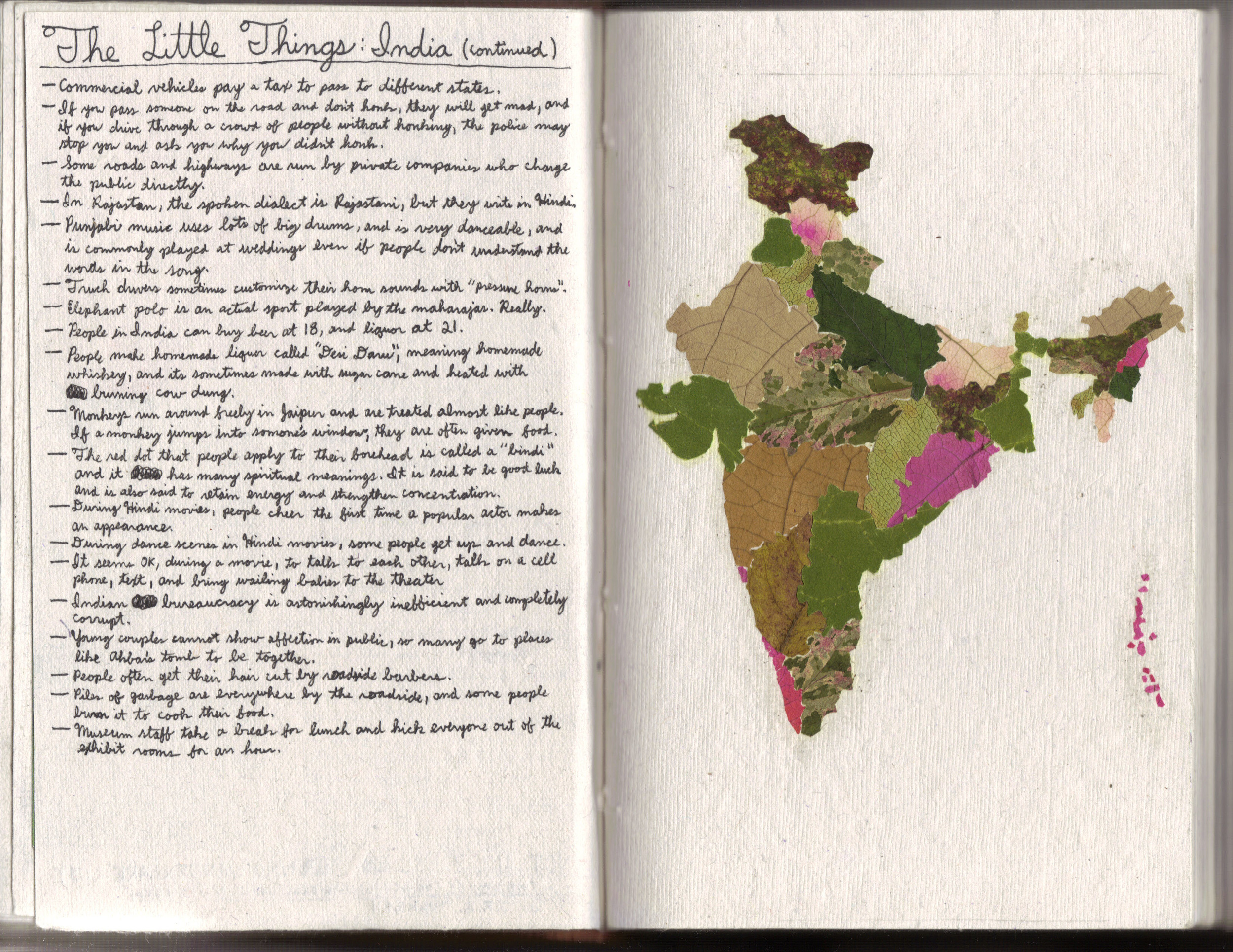 Map of India's states made from leaves and flowers collected in India