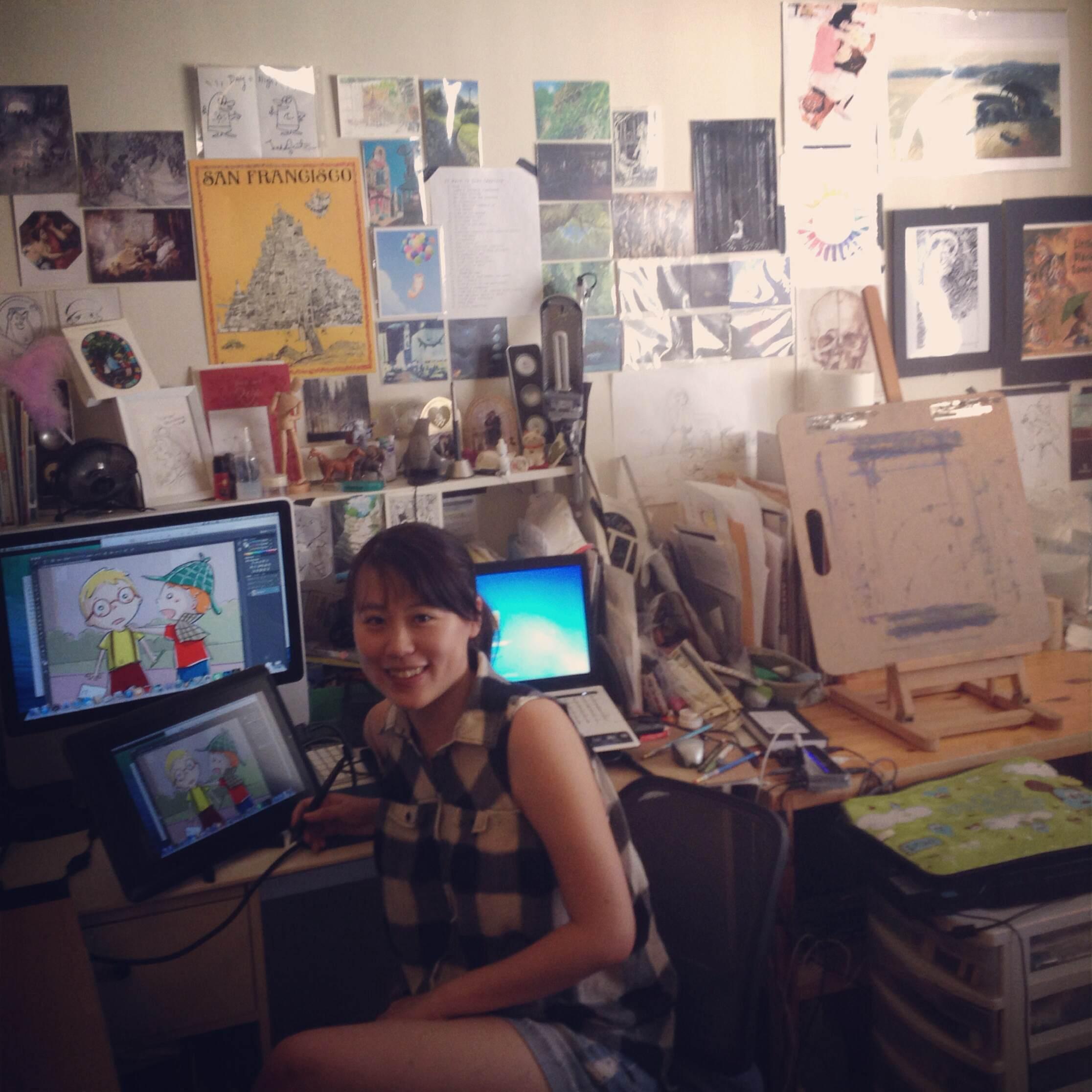 Christine in her studio