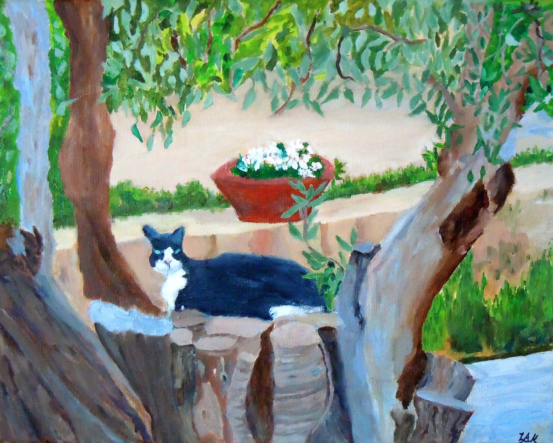 13. Cat on Olive Tree Stump.DSCN1992.jpg