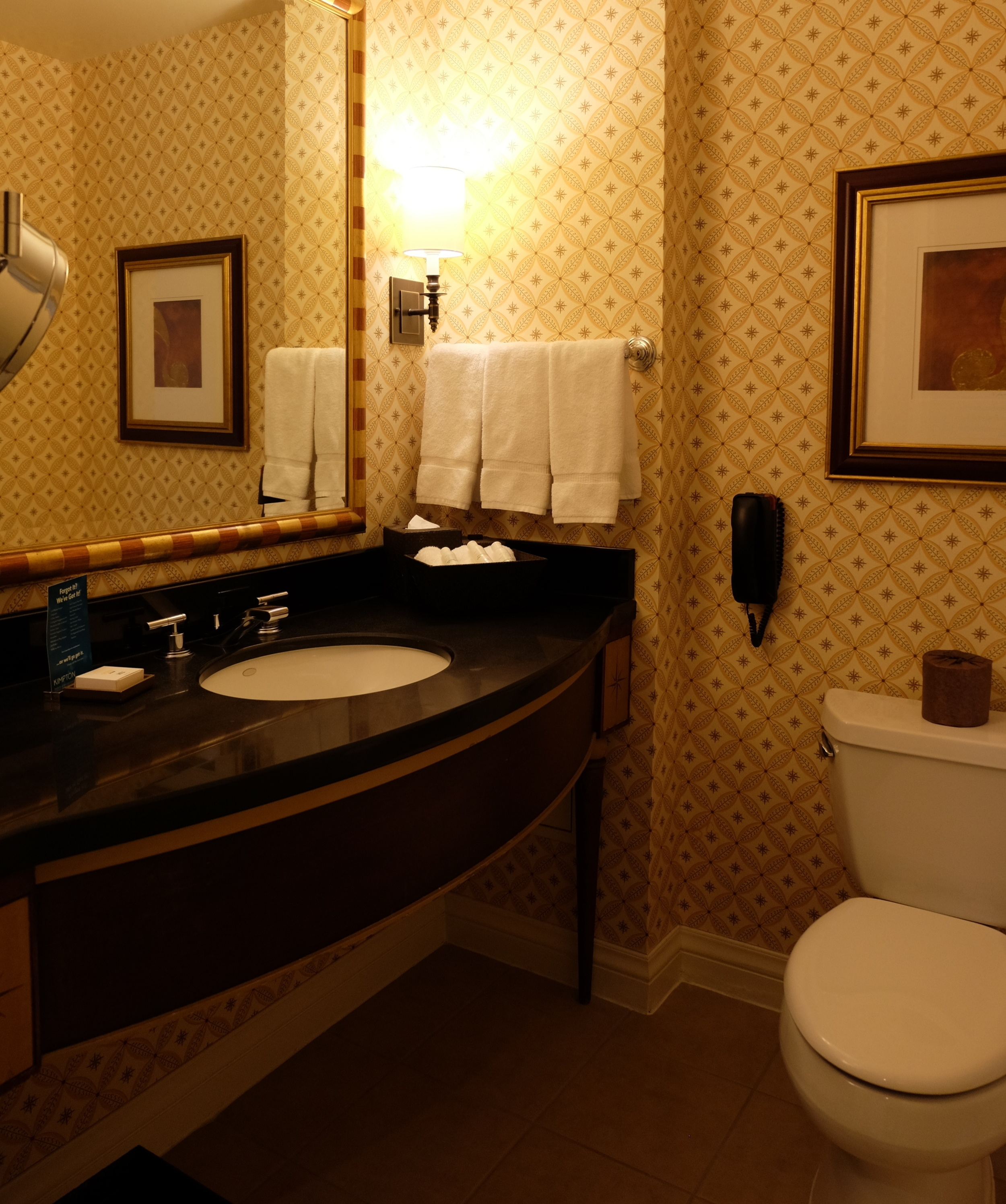 Sizable bathroom with combo shower/bathtub (not pictured). I loved their eco-friendly bath amenities.