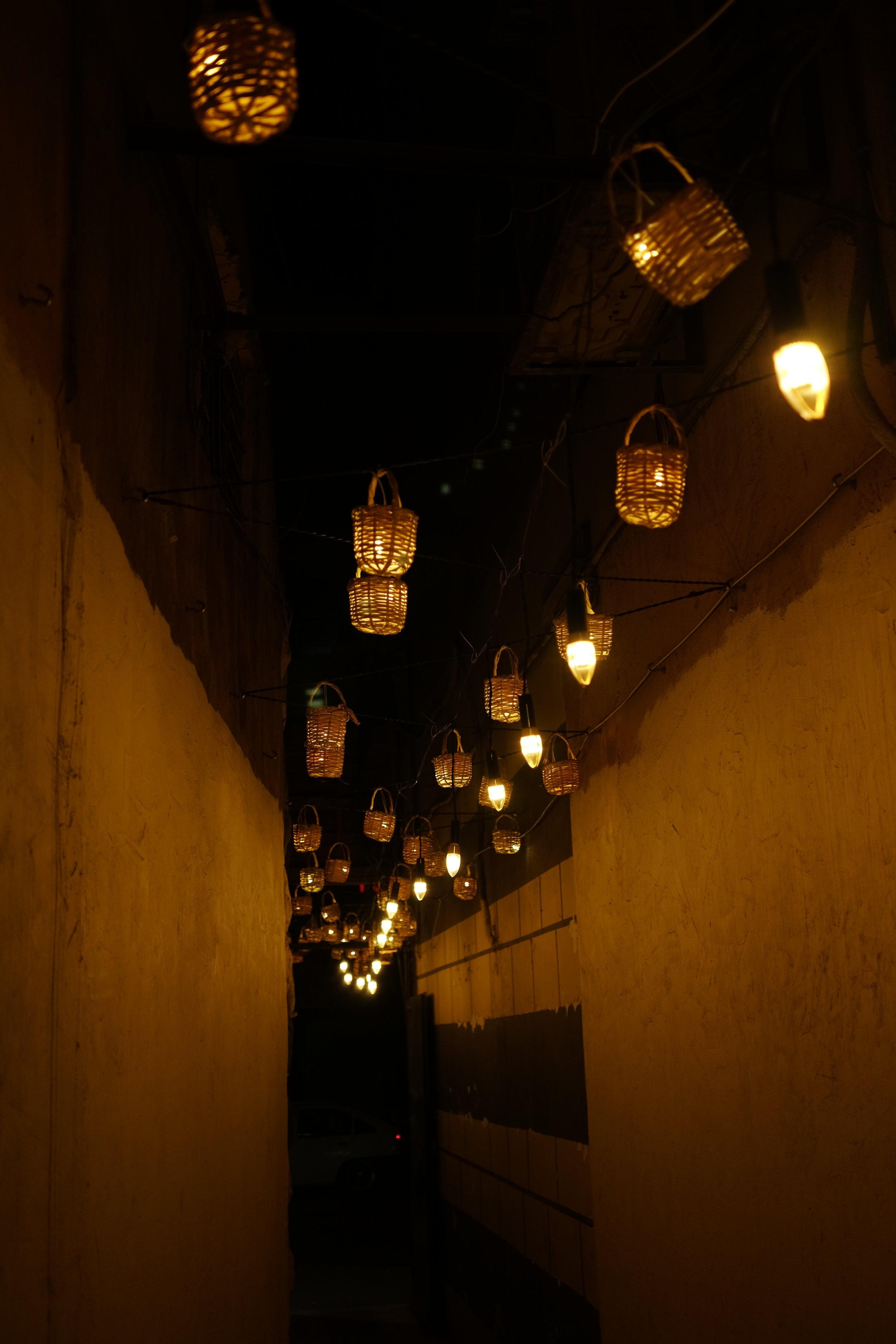 Night shot of an alleyway in Amman