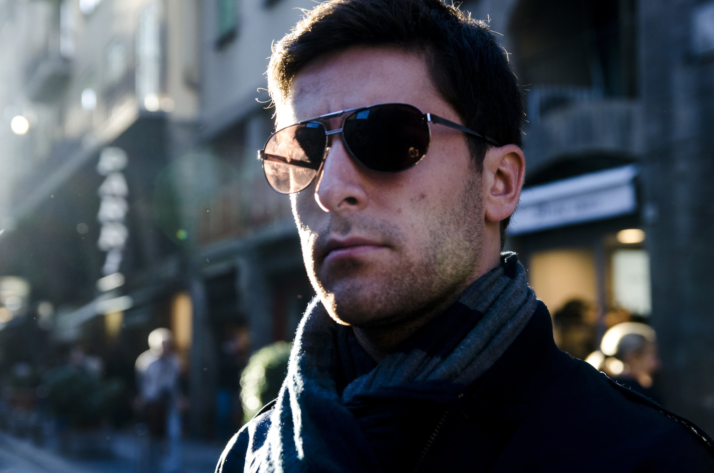 Joseph Fierberg stands on the streets of Florence, Italy basking in the golden beams of the sun.